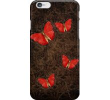 Red Orange butterflies on Brown iPhone Case/Skin