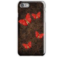 Red Orange butterflies on Brown iPhone Case/Skin