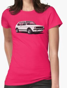 VW Golf GTI Mk1 illustration white Womens Fitted T-Shirt