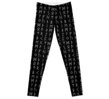 Elder Futhark Runes Pattern in White Leggings
