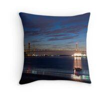 Dartford Bridge at night Throw Pillow