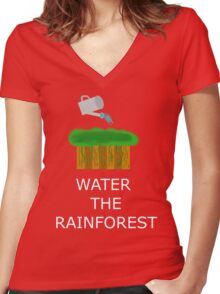 Water the Rainforest! Women's Fitted V-Neck T-Shirt