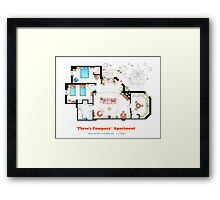 Three's Company Apartment Floorplan Framed Print