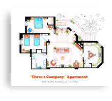 Three's Company Apartment Floorplan Canvas Print