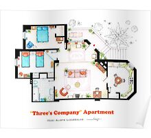 Three's Company Apartment Floorplan Poster