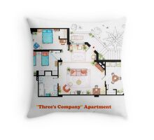Three's Company Apartment Floorplan Throw Pillow