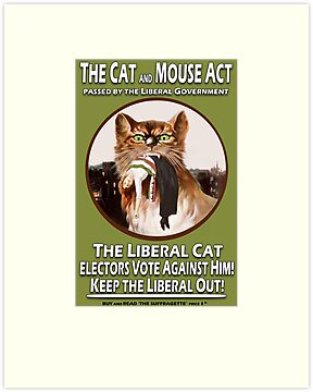 Vintage British Suffragette Cat and Mouse Act  Poster by simpsonvisuals