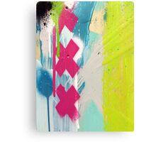Pink cross paint strokes Canvas Print