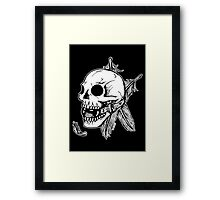 Skull Ball Gag Feathers Framed Print