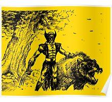 Wolverine Ink Illustration Poster