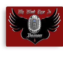 My Blood Type Is Damon Red & Black VD Fan Logo Canvas Print