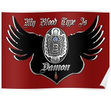 My Blood Type Is Damon Red & Black VD Fan Logo Poster