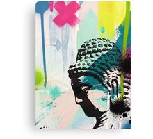 Buddha aqua paint strokes Canvas Print