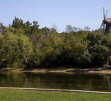 Windmill overlooking Fox River by Deanna Heitschmidt