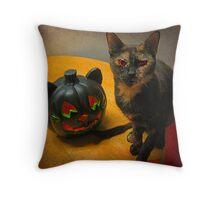 Happy Halloween Kitties Throw Pillow