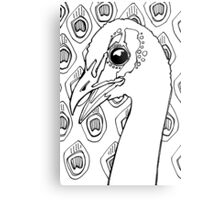 Blue peafowl, coloring book page Metal Print