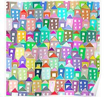 Houses . Hand drawn pattern Poster