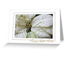 White Poinsettia Peace Love Hope Christmas Card Greeting Card