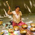 0462 Playing Tibetan Singing Bowls by DavidsArt
