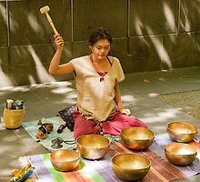 0462 Playing Tibetan Singing Bowls by DavidsArt
