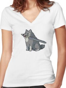 Pixel Great Grey Wolf Sif Women's Fitted V-Neck T-Shirt