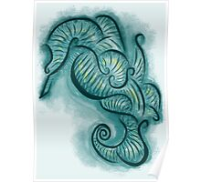 Blue Seahorse Poster