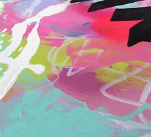 Pink and aqua abstract mess by Sarah Sculley