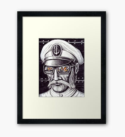 Captain colored pencils drawing Framed Print