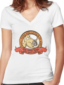 Rubber chicken with a pulley in the middle Women's Fitted V-Neck T-Shirt