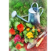 Zinnias and Watering Can Photographic Print