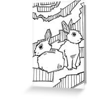 Common rabbit, coloring book page Greeting Card