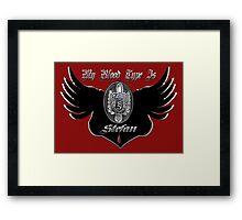 My Blood Type Is Stefan Red & Black VD Fan Logo Framed Print