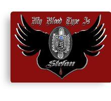 My Blood Type Is Stefan Red & Black VD Fan Logo Canvas Print
