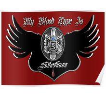My Blood Type Is Stefan Red & Black VD Fan Logo Poster