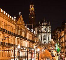 Portugal. Porto. Clérigos Church at night. by vadim19