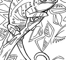 Panther chameleon, coloring book page by Gwenn Seemel