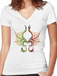 Heaven and Earth - Rathalos x Rathian Women's Fitted V-Neck T-Shirt
