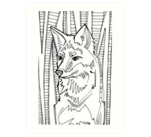 Red fox, coloring book page Art Print
