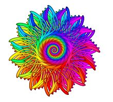 Psychedelic Rainbow Spiral Medallion by Kitty Bitty