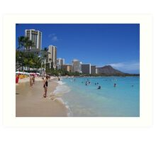 Waikiki Beach and Diamond Head, Honolulu, Hawaii Art Print