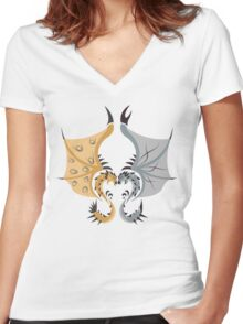 Heaven and Earth - Silver Rathalos x Gold Rathian Women's Fitted V-Neck T-Shirt