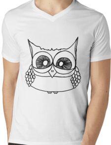 Freak-out Owl Mens V-Neck T-Shirt