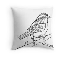 White-throated sparrow detail, coloring book page Throw Pillow