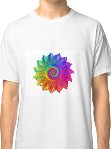 Psychedelic Rainbow Spiral Medallion Classic T-Shirt