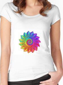 Psychedelic Rainbow Spiral Medallion Women's Fitted Scoop T-Shirt