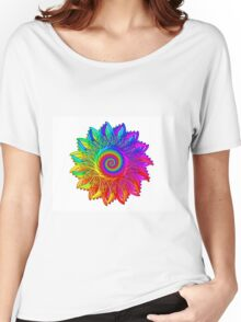 Psychedelic Rainbow Spiral Medallion Women's Relaxed Fit T-Shirt