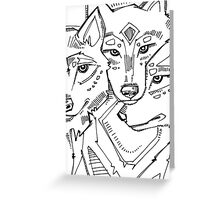 Gray wolf, coloring book page Greeting Card