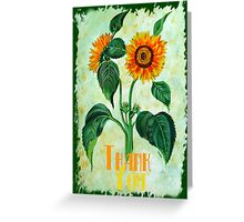 Vintage Sunflowers - Thankyou Greeting Card