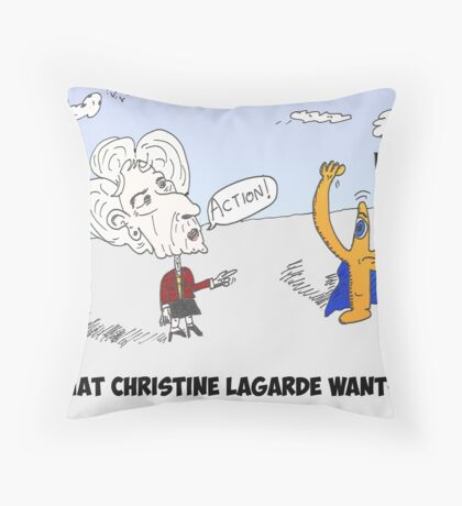 Euroman and Christine Lagarde caricature Throw Pillow