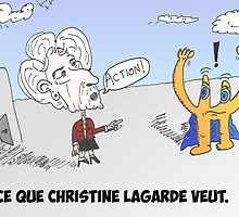 Euroman et Christine LAGARDE en caricature by Binary-Options